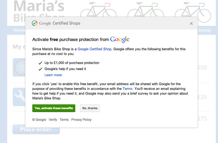 Google Certified Shops Buyer Protection Opt In Box